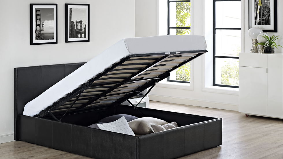 3FT End Lifting Faux Leather Storage Bed Available In Black