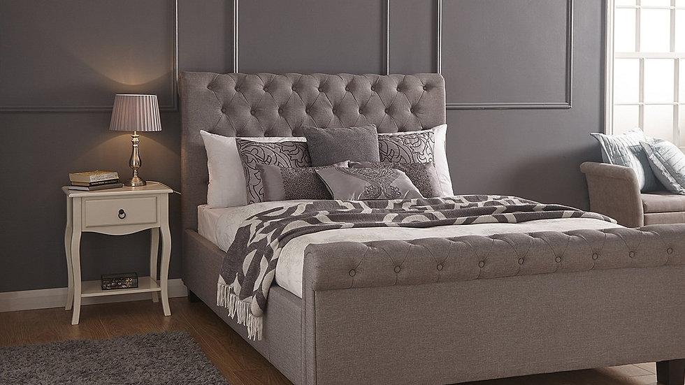 Layla Fabric Side Lift Grey Ottoman 5FT Kingsize Sleigh Bed