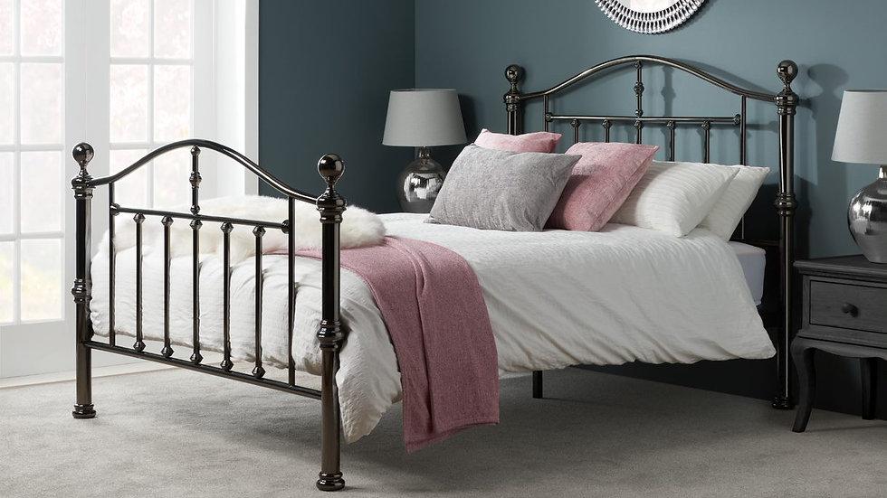 Traditional Elegant Black Steel Double Metal Bed Frame