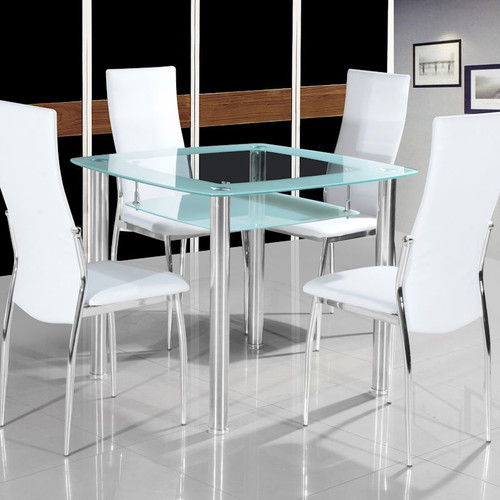 Chic 5 Piece Dining Set Glass Top Table With Shelf