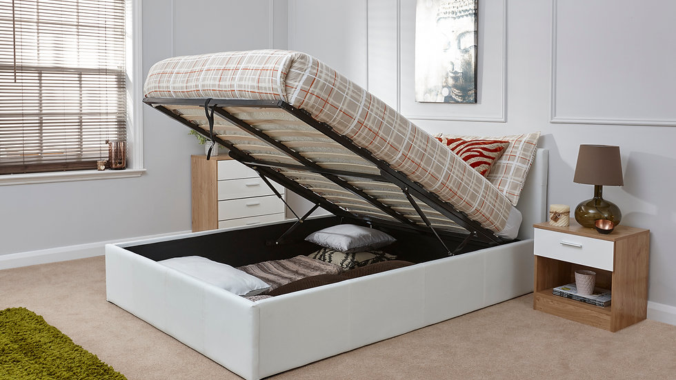 3FT End Lifting Faux Leather Storage Bed Available In White