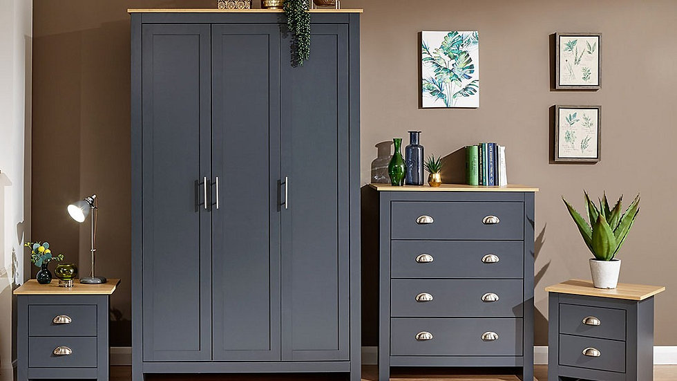 New Modern Shaker Inspired Lancaster 4 Piece Bedroom Furniture Set