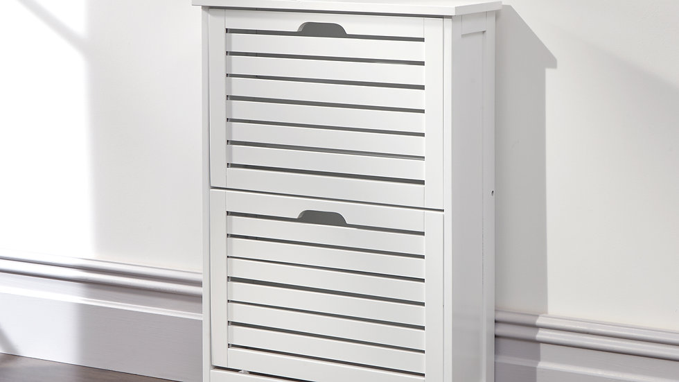 Slim White Wooden Two Tier Shoe Cabinet 18cm Depth Scandinavian Style Storage
