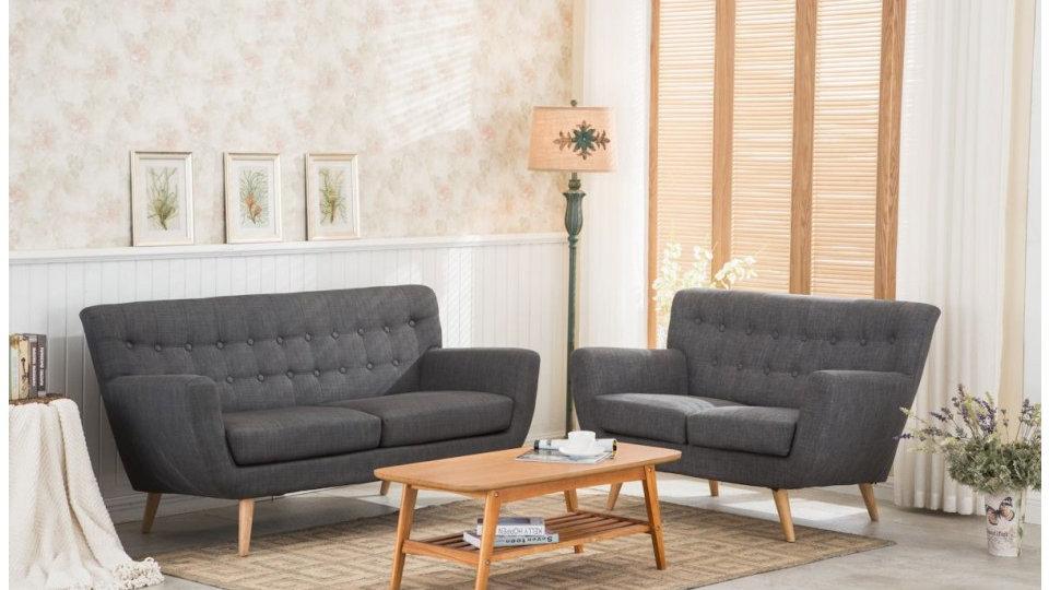 Prime Retro Scandanavian Modern Style Grey Fabric Sofa Set 2 3 Seat Wooden Legs Inzonedesignstudio Interior Chair Design Inzonedesignstudiocom
