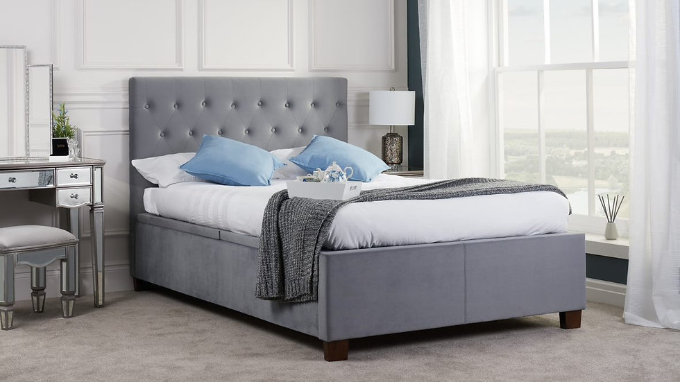 Contemporary Double Grey or Silver Fabric Cologne Storage Bed