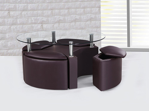 Modern Coffee Table + 4 Hideaway Storage Stools - Modern Coffee Table + 4 Hideaway Storage Stools FTA Furnishing