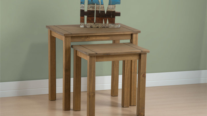 New Rustic Oak Nest Of Tables
