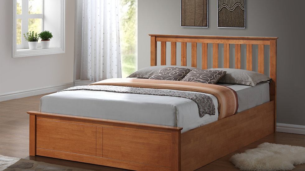 ftafurnishing Wooden Ottoman Storage Bed Solid Base