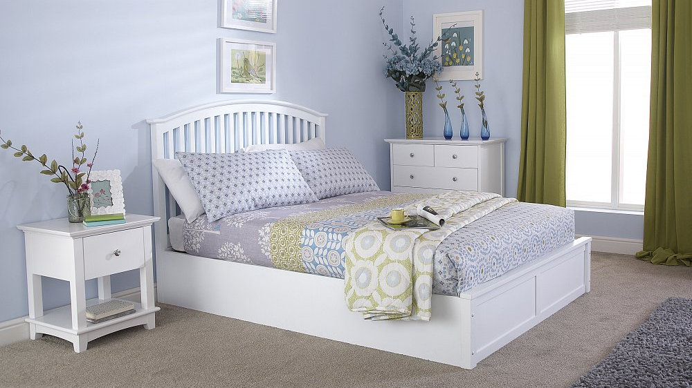 separation shoes 883dc 39733 Curved Shaker Style Headboard Oak White 4ft6 5ft Wooden Ottoman bed