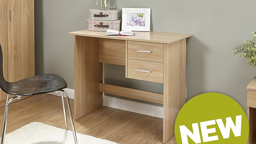 Contemporary 2 Drawer Desk In Fashionable Oak Finish - Modern Furniture