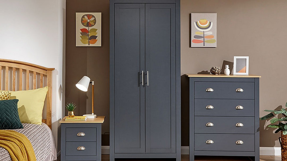 New Modern Shaker Inspired Lancaster 3 Piece Bedroom Furniture Set