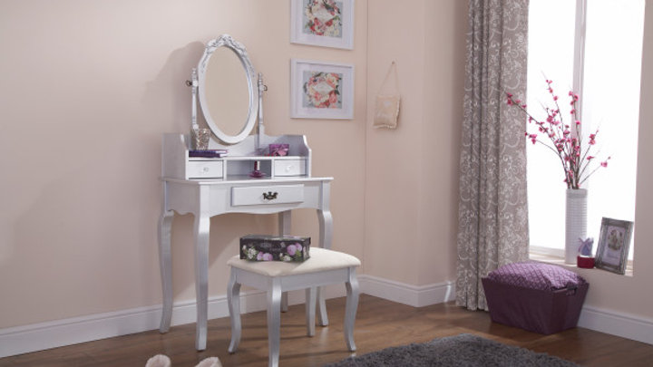 Antique Style Dressing Table Adjustable Mirror & Stool 3 Drawers Silver or White