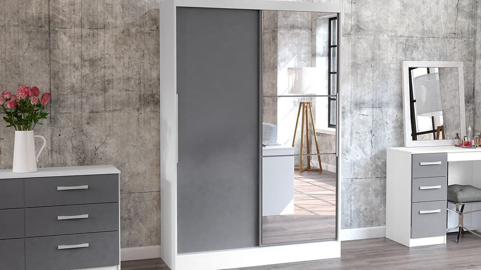Modern High-Gloss 2 Door Sliding Wardrobe With Mirror