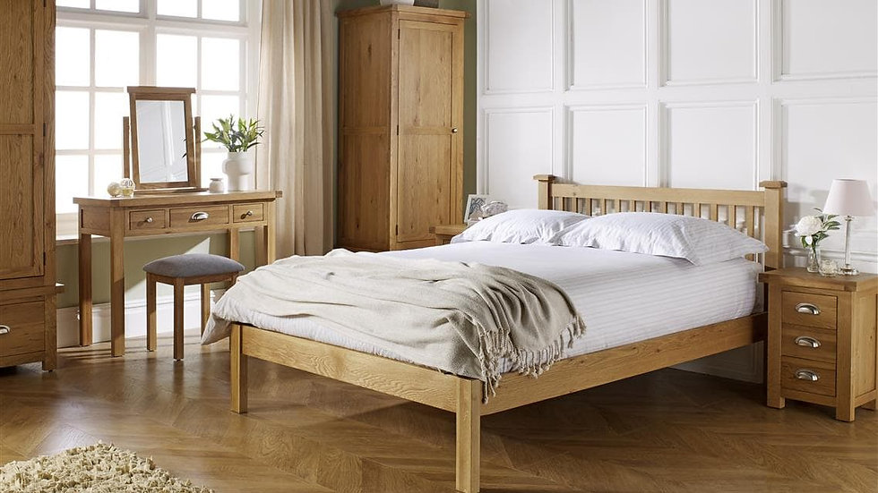 Woburn Chunky Solid Oak Bed Frame available in 4FT6 & 5FT