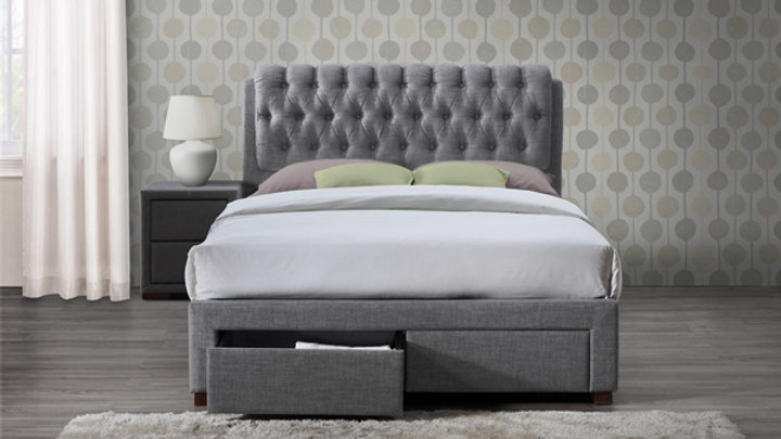 Elegant Buttoned Bed with Storage Drawers in Grey Fabric 4FT6 5FT
