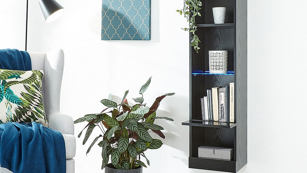 Wall Mounted Modern Blue LED Tall Shelving Unit White, Grey or Black LiftUp Door