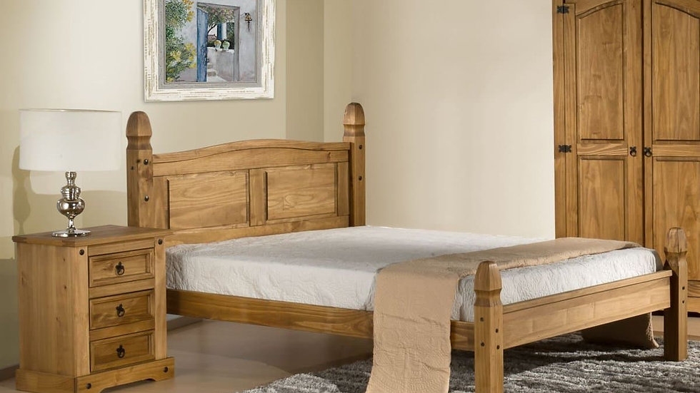 Traditional Cottage Style Natural Wax Pine Bed Frame 4ft6 Double w/20cm Mattress