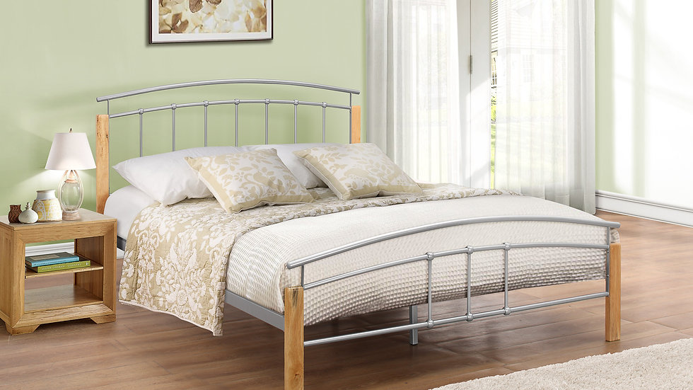 Curved Metal and Wood Modern Bed 3ft 4ft 4ft6 5ft Beech Colour + Silver Colour