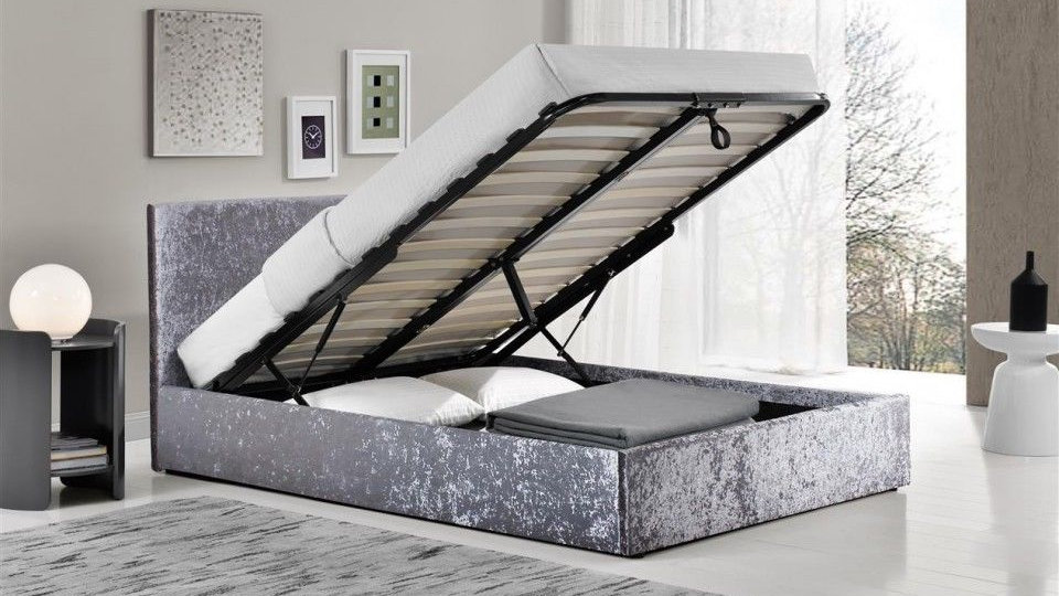 3FT 4FT 4FT6 5FT Silver Crushed Velvet Contemporary Ottoman Storage Bed