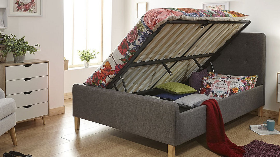 Modern Retro Inspired Chic Ashbourne Grey or Mustard Bed Frame All Sizes