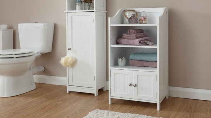 Contemporary Wooden Bathroom 2 Door Deluxe Cupboard Grey or White