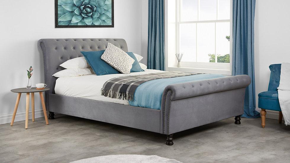 Stunning Grey Velvet Sleigh Bed with Buttoned Headboard 4ft6 5ft 6ft
