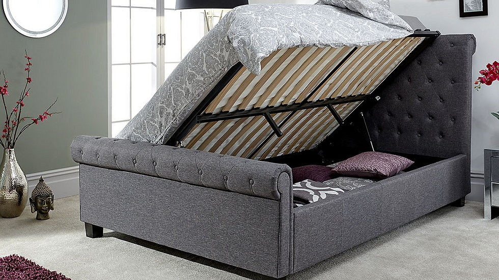 NEW Stunning Deep Buttoned Layla Side Lifting Ottoman Dark or Light Grey Bed