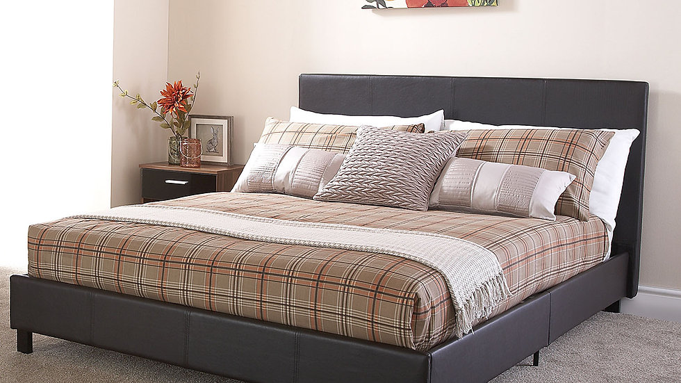 4ft Small Double Faux Leather Brown Bed Frame