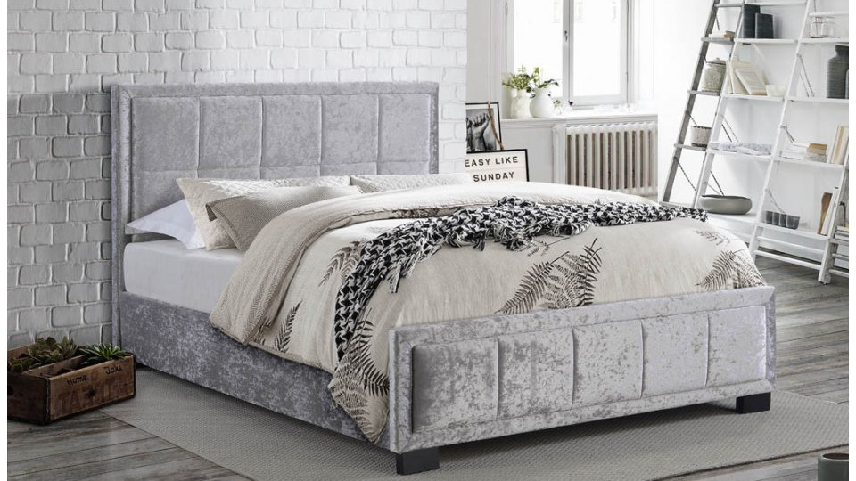 Hannover 4FT 4FT6 5FT Steel Crushed Velvet Bed With Cushioned Headboard
