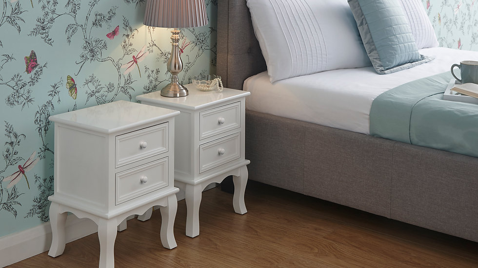 CLEARANCE SALE Twin Set Of White Victorian Inspired 2 Drawer Bedside Tables