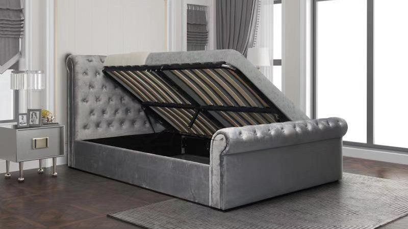 4ft6 5ft Stunning Suedette Grey Sleigh Bed Side Lift Storage + Fabric Buttons