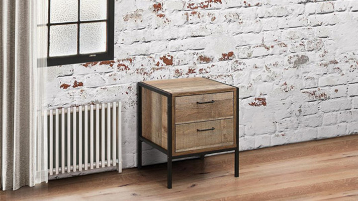 Industrial Chic Two Drawer Bedside Table Metal Frame Wood Effect Finish
