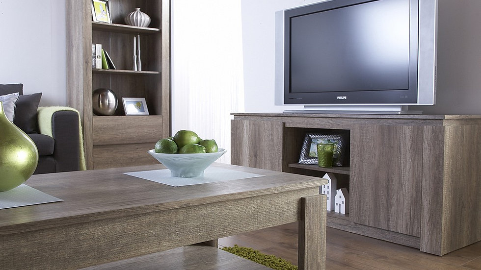 Unique Oak Effect 3PC Furniture Set Coffee Table, Lamp Table & TV Stand