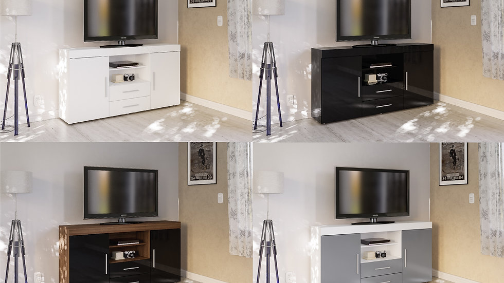 New Modish High Gloss TV Unit 2 Door 2 Drawer Storage Stand in 4 colours
