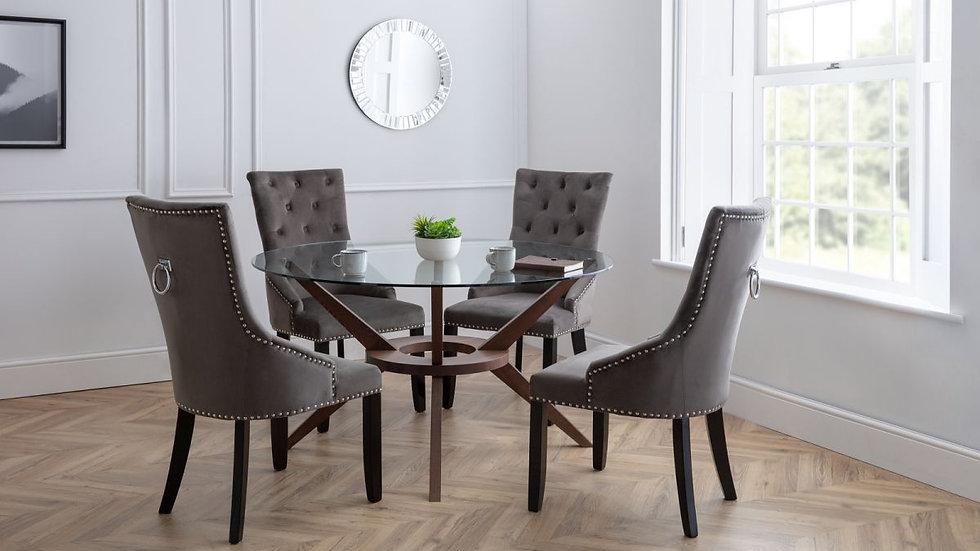 Veneto Luxe Upholstered Grey Velvet Knockerback Chair