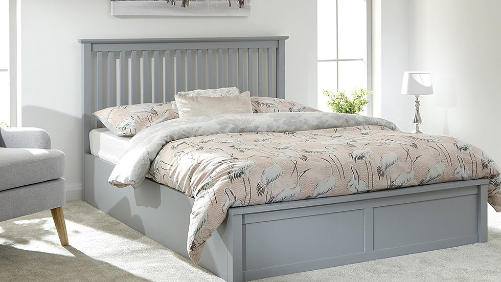 Our New England elegant Charm Dove Grey Wooden Ottoman Storage Bed