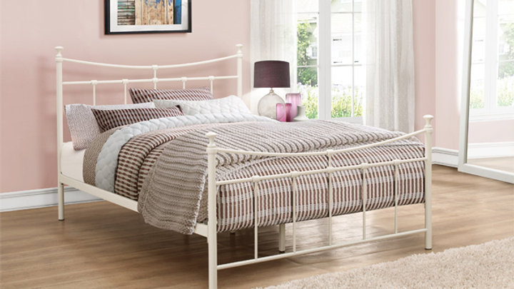Cream or Black Classical Curved Metal Bed Frame 4ft6 Double Mattress Option