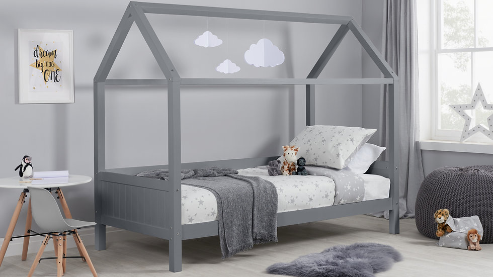 Children's Beautiful Wooden Home Bed available in Grey & White