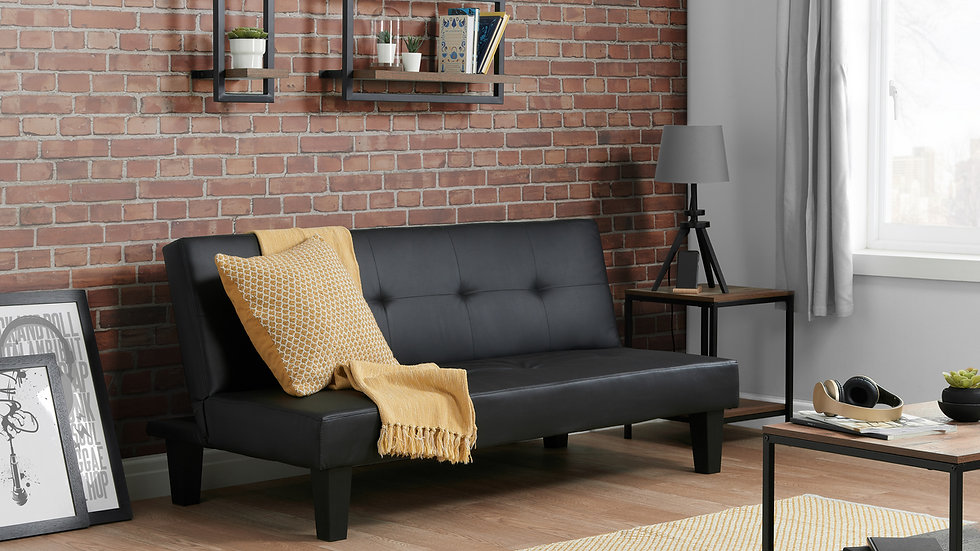 Sleek Buttoned Upholstered Faux Leather Black Sofa Bed Easily Coverts to a Bed