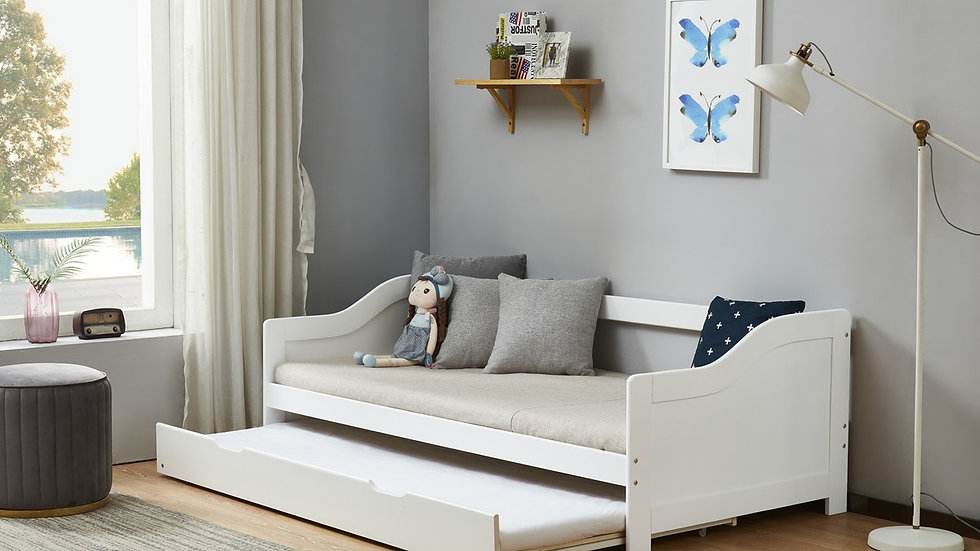 NEW Modern Child's Wooden Trundle Bed Available In White or Grey