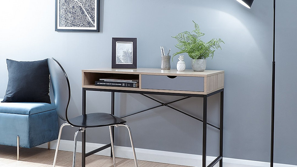 Box Style Computer Desk With Drawer and Deep Shelf 2 Colour Options