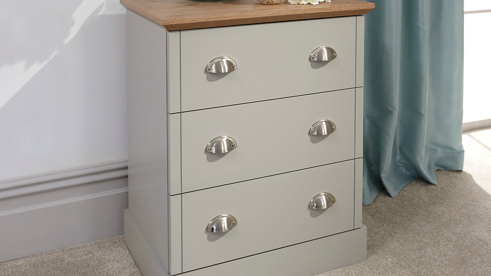 Classic Country Cottage Grey Wooden 3 Drawer Chest or 1 Drawer Bedsides