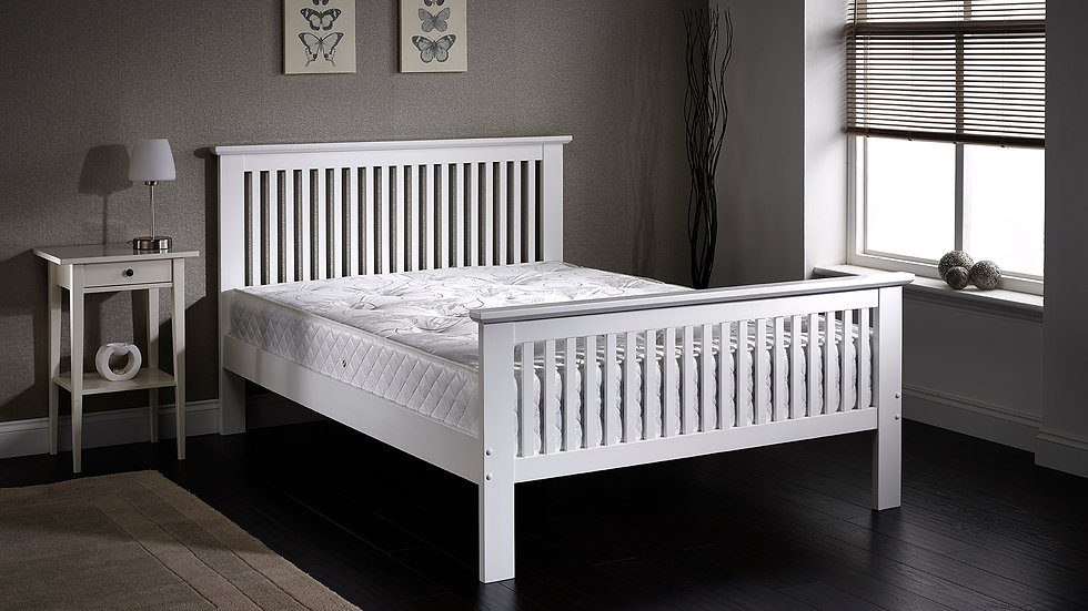 Modern Stylish Wooden White Or Oak Shaker Style Bed