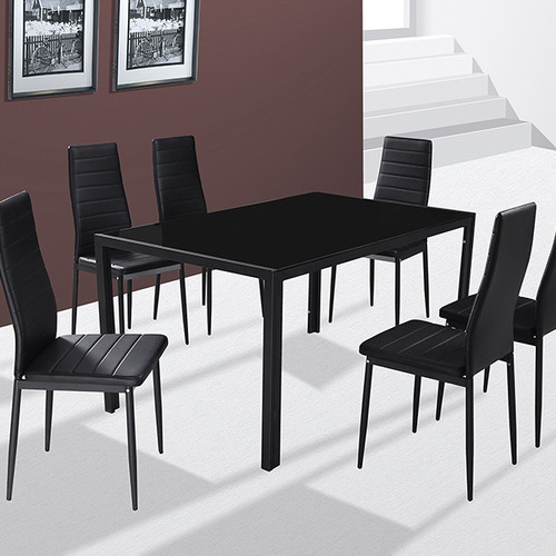 Tempered Glass Dining Table 6 Faux Leather Chair