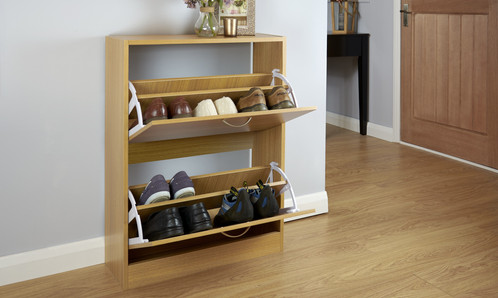 Our Shoe Rack Is Available In A Beautiful, Modern Oak Finish And Features 2 Shoe  Storage Sections, Capable Of Holding Up ...