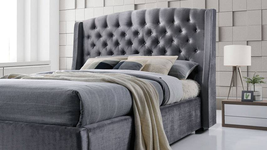 Stunning Velvet Grey Wing Back Brando Bed 4ft6 Double 5ft King Size