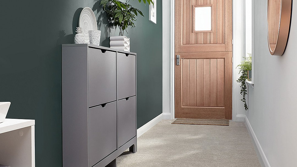 The Slender Narrow Shoe Cabinet available in Grey & White 4 or 6 Drawers