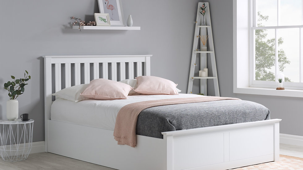 Charming Timeless Classic Phoenix Wooden Ottoman Storage Bed Frame