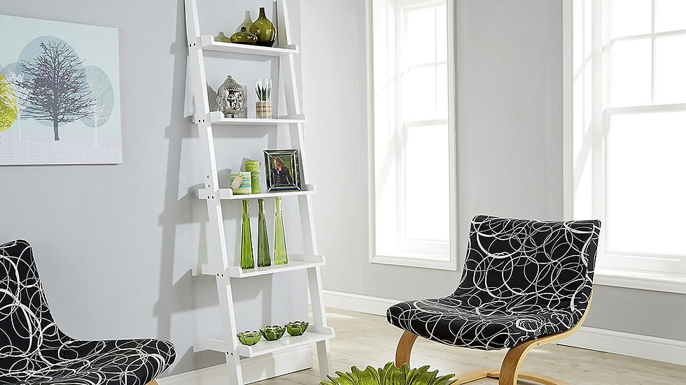 Minimalist Ladder Style Wall Rack White Perfect Stylish Storage Solution