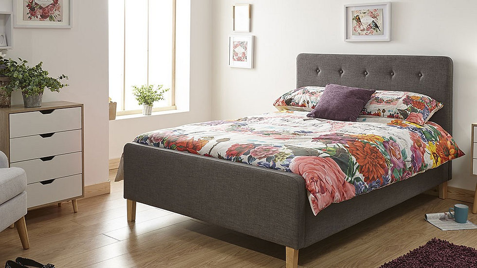 Retro-style Buttoned Grey Hopsack Fabric Ottoman Bed